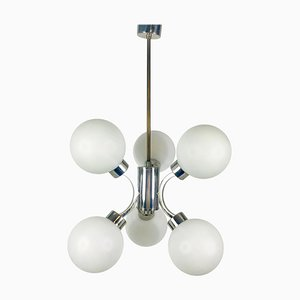Mid-Century Space Age Chrome 6-Arm Chandelier from Kaiser Leuchten, 1960s