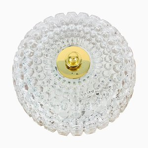 German Crystal Glass Round Flush Mount from Glashütte Limburg, 1960s