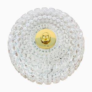 German Crystal Glass Round Flush Mount from Glashütte Limburg, 1960s