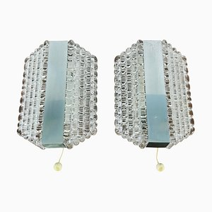 Mid-Century German Metal and Glass Sconces from Kaiser Leuchten, 1960s, Set of 2