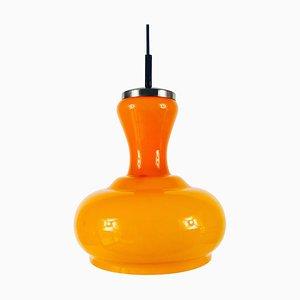 Deckenlampe aus Orangenfarbenem Glas von Peill & Putzler, 1970er