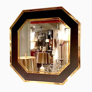 French Hollywood Regency Gilt Brass Mirror in the Style of J. C. Jansen, 1980s