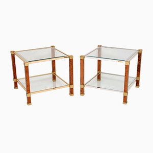 French Walnut & Glass Side Tables from Pierre Vandel, 1970s, Set of 2