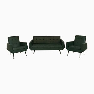 Italian Green Faux Leather and Metal Sofa Bed and Armchairs Set, 1950s, Set of 3