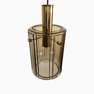 Smoked Glass Ceiling Lamp from Glashütte Limburg, 1970s