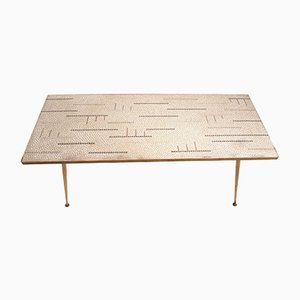 Mosaic & Brass Coffee Table by Berthold Müller, 1950s