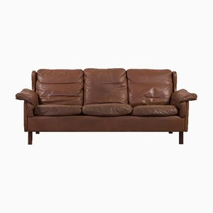 Cognacfarbenes dänisches Mid-Century 3-Sitzer Sofa