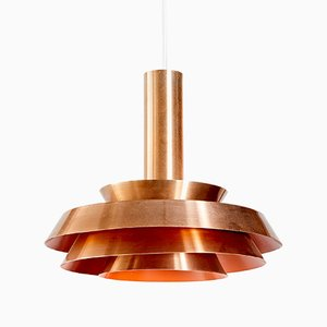 Mid-Century Danish Rose Gold Lamelled Ceiling Lamp, 1960s