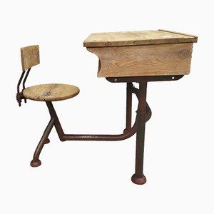 Tavolo da bambino in metallo e quercia, anni '50
