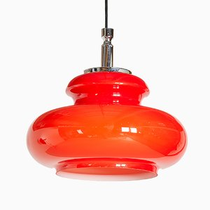 Vintage Red Glass Pendant Lamp, 1970s