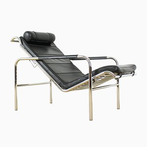 Black Leather & Chrome Genni Chaise Lounge by Gabriele Mucchi for Zanotta, 1930s