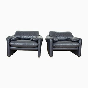 Vintage Maralunga Lounge Chairs by Vico Magistretti for Cassina, Set of 2