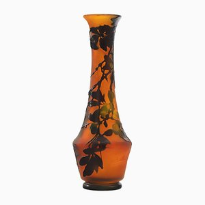 Antique 3-Colored Cameo Glass Vase by Emile Galle, 1900s