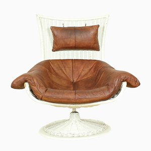 Leather & Rattan Armchair by Gerard van den Berg for Montis, 1970s