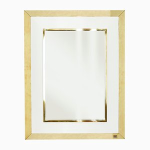 White Lacquer & Brass Mirror by Jean Claude Mahey for Maison Roméo, 1970s