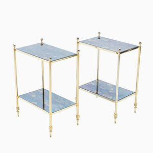 Beistelltische aus Messing & Spiegelglas von Maison Jansen, 1960er, 2er Set