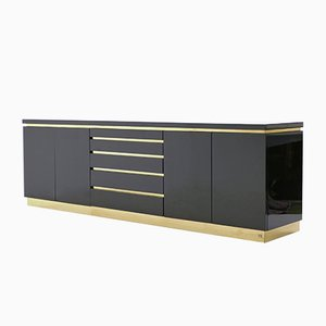 Black Lacquered & Brass Sideboard by Jean Claude Mahey, 1970s