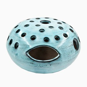 French Blue Ceramic Vase by Jacques Pouchain for Atelier Dieulefit, 1960s