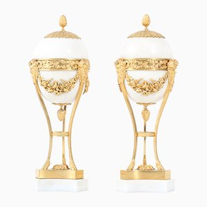 Large French Louis XVI Gilt-Bronze & White Marble Mounted Urns, 1790s, Set of 2