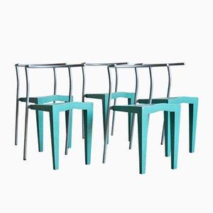 Italienisches Vintage Wohnzimmerset aus Kunststoff & Metall von Philippe Starck für Kartell, 5er Set