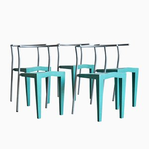 Vintage Italian Plastic and Metal Living Room Set by Philippe Starck for Kartell, Set of 5