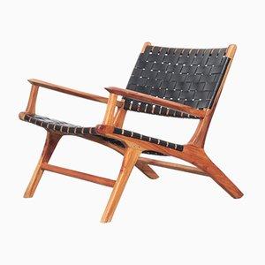 Danish Teak & Leather Lounge Chair, 1960s