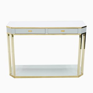 White Lacquered & Brass Console Table by Jean Claude Mahey for Maison Roméo, 1970s