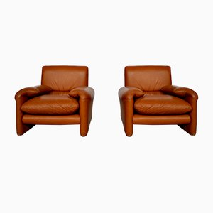 Vintage Italian Cognac Leather Lounge Chairs, 1970s, Set of 2