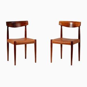 Rosewood Model 343 Dining Chairs by Knud Faerch for Slagelse Møbelværk, 1960s, Set of 8