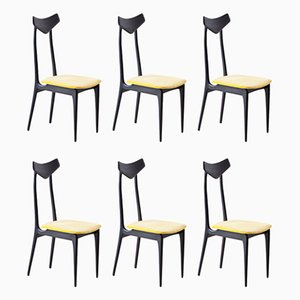Italian Mahogany and Yellow Velvet Dining Chairs, 1950s, Set of 6