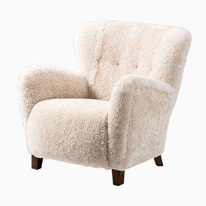 Danish Sheepskin Lounge Chair from Fritz Hansen, 1940s