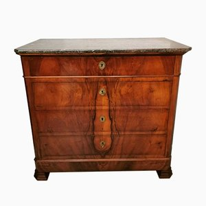 French Louis Philippe Walnut Chest of Drawers with Marble Top, 1800s