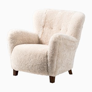 Danish Sheepskin Lounge Chairs from Fritz Hansen, 1940s, Set of 2
