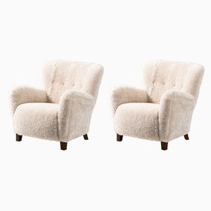 Danish Sheepskin Lounge Chairs from Fritz Hansen, 1940s, Set of 2