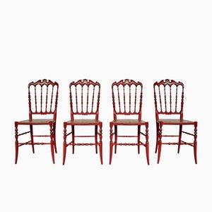 Chaises de Salle à Manger Chiavarine Laquées Rouge et Dorée, Italie, 1950s, Set de 4