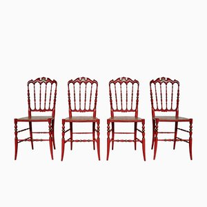 Italian Lacquered Red and Gold Chiavarine Dining Chairs, 1950s, Set of 4