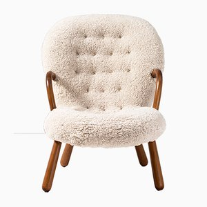 Sheepskin Clam Chair by Philip Arctander for Vik & Blindheim, 1950s