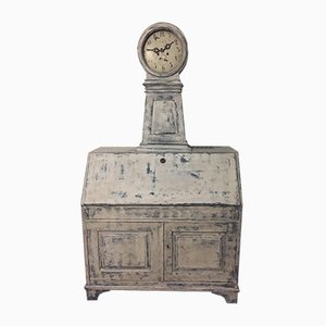 Antique Folding Secretaire with Mora Clock, 1850s