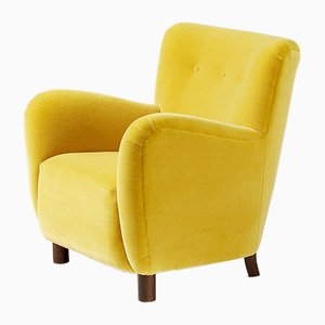 Danish Mohair Velvet Lounge Chair from FDB, 1954
