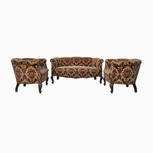 Antique Italian Floral Velvet Sofas, 1890s, Set of 3
