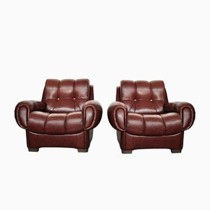 Vintage Italian Leather Sofas, 1970s, Set of 2
