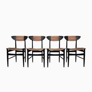 Italienische Mid-Century Esszimmerstühle aus Holz & Geflecht, 1950er, 4er Set