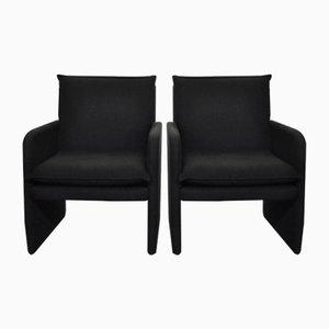 Schwarze Italienische Vintage Sessel, 1970er, 2er Set