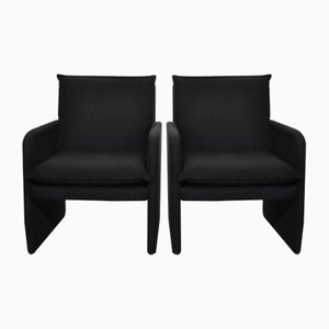 Vintage Italian Black Lounge Chairs, 1970s, Set of 2