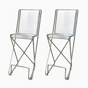 German Chromed Steel Bar Stools by Till Behrens for Schulbach, 1990s, Set of 2