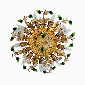 Glided Flower Ceiling Lamp from Banci, 1960s
