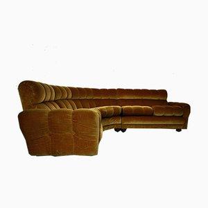 Vintage Italian Velvet Modular Corner Sofa, 1970s