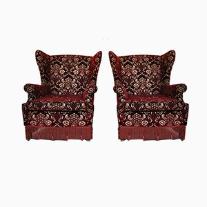 Mid-Century Italian Red Damask Velvet Chaise Lounges, 1950s, Set of 2