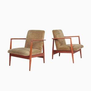 Teak and Velvet Lounge Chairs from C.B. Hansen, 1950s, Set of 2