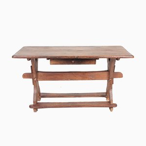 Antique Baroque Scandinavian Patinated Solid Oak Desk